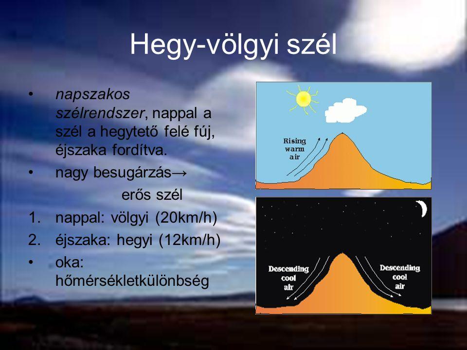 Hegy-völgyi szél napszakos szélrendszer, nappal a szél a hegytető felé fúj, éjszaka fordítva. nagy besugárzás→