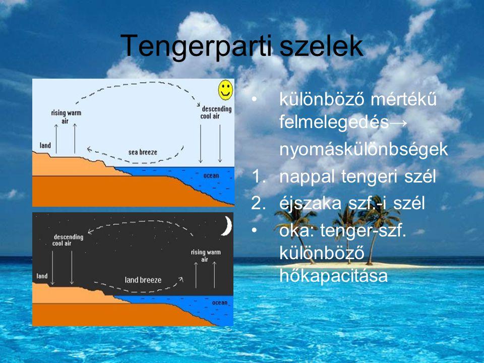 Tengerparti szelek különböző mértékű felmelegedés→ nyomáskülönbségek