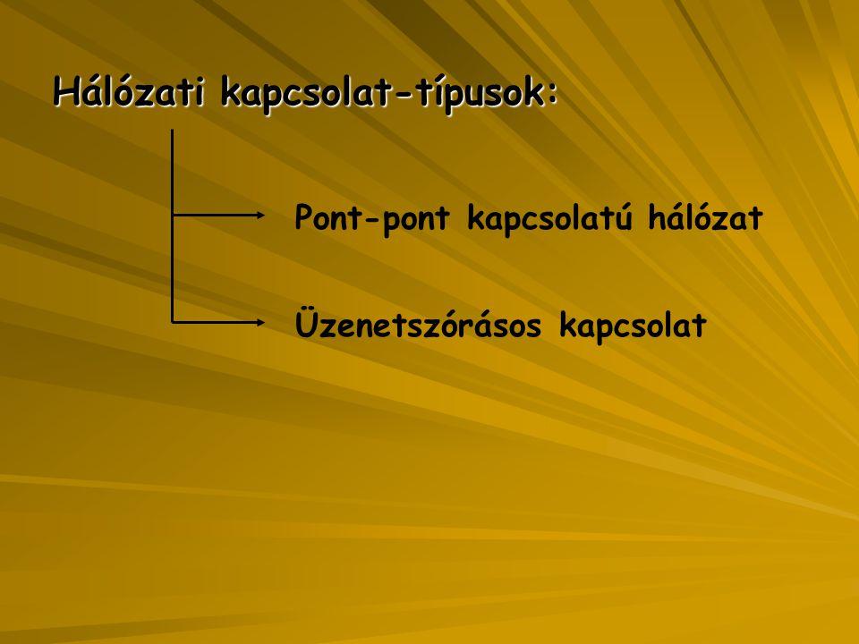 Hálózati kapcsolat-típusok: