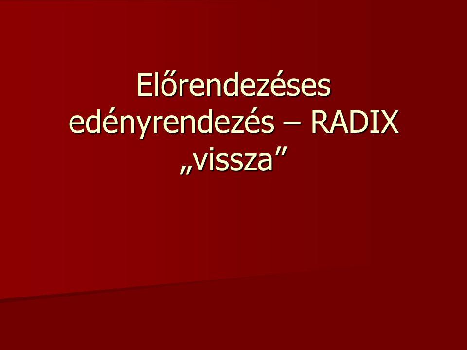 """Előrendezéses edényrendezés – RADIX """"vissza"""