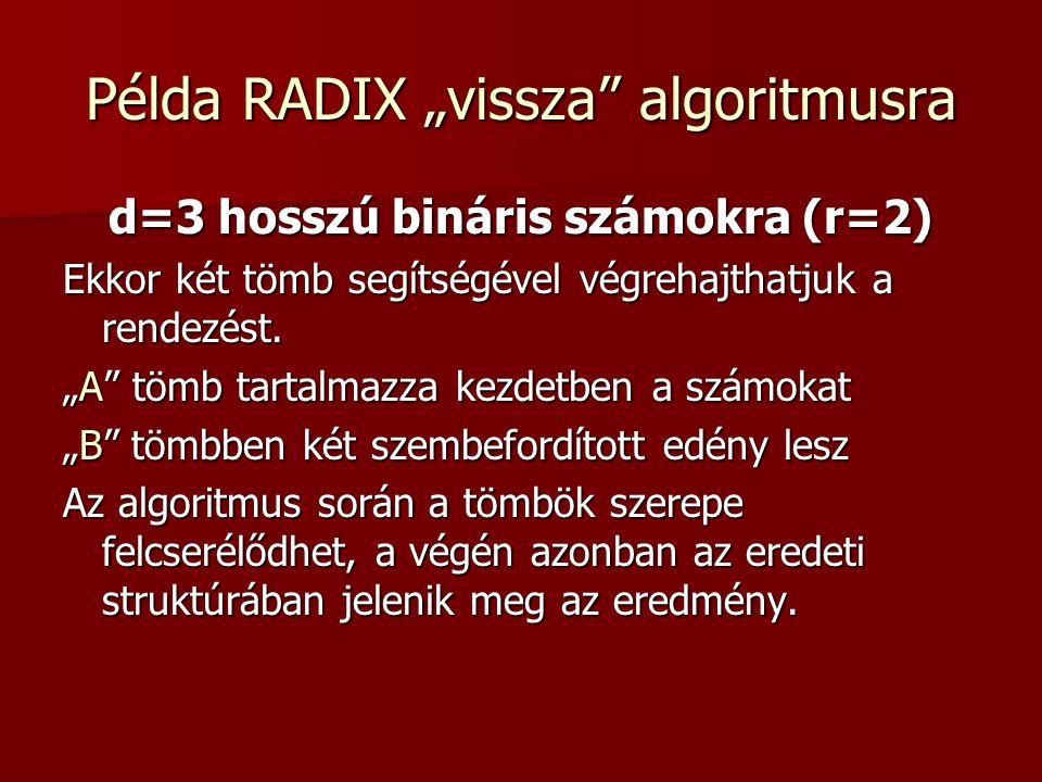 """Példa RADIX """"vissza algoritmusra"""