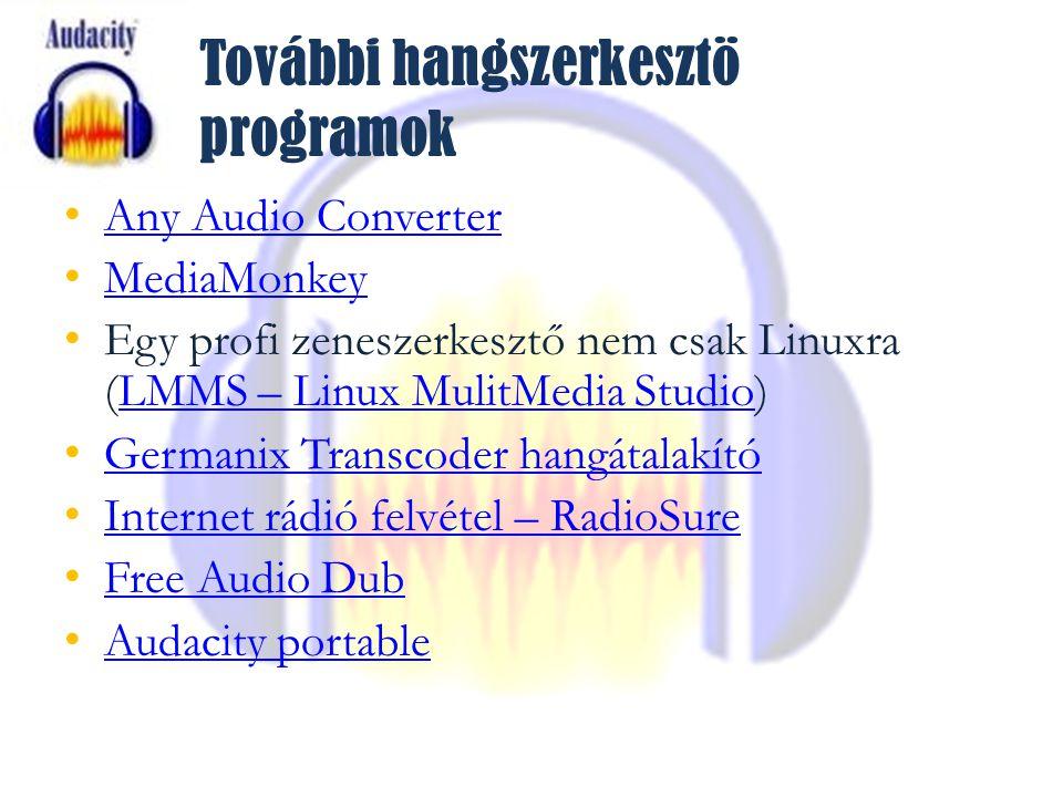 További hangszerkesztö programok