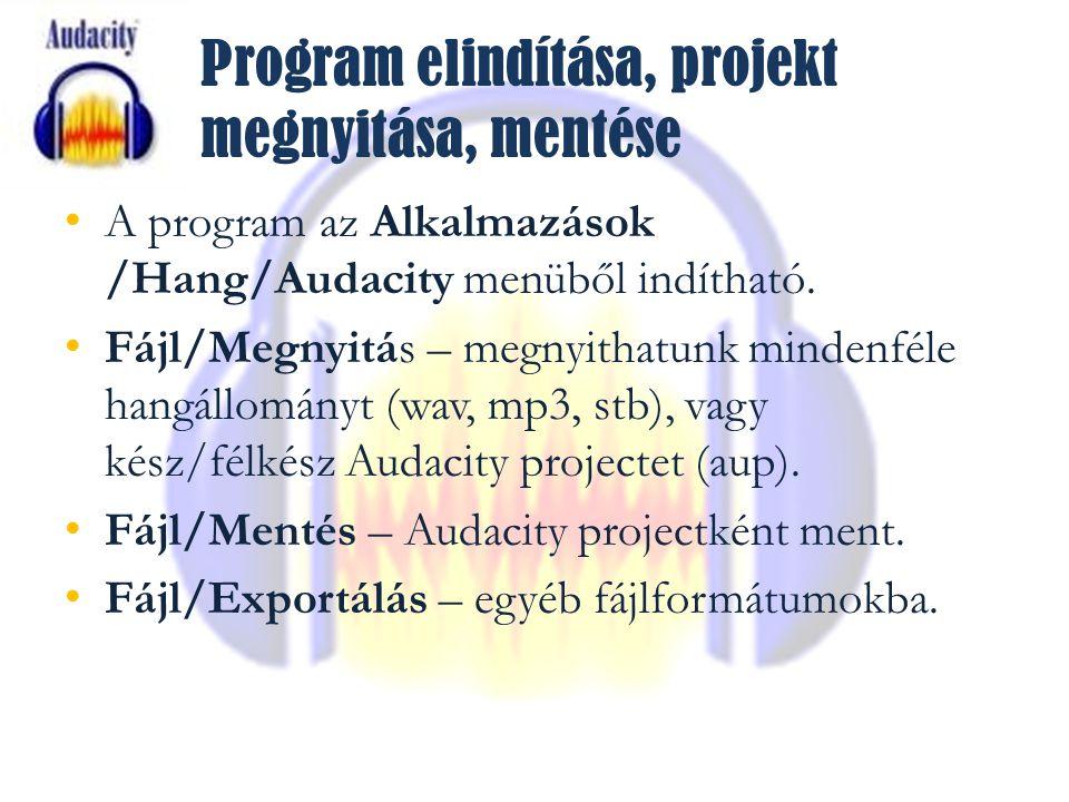Program elindítása, projekt megnyitása, mentése