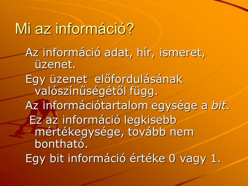 Mi az információ Az információ adat, hír, ismeret, üzenet.