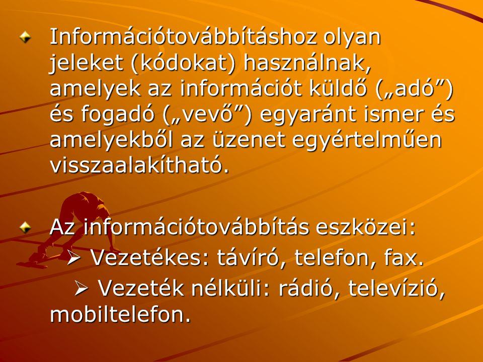 """Információtovábbításhoz olyan jeleket (kódokat) használnak, amelyek az információt küldő (""""adó ) és fogadó (""""vevő ) egyaránt ismer és amelyekből az üzenet egyértelműen visszaalakítható."""