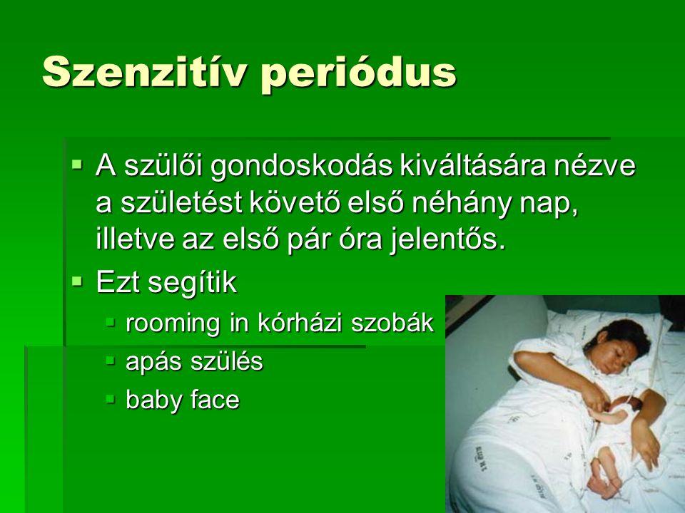 Szenzitív periódus A szülői gondoskodás kiváltására nézve a születést követő első néhány nap, illetve az első pár óra jelentős.