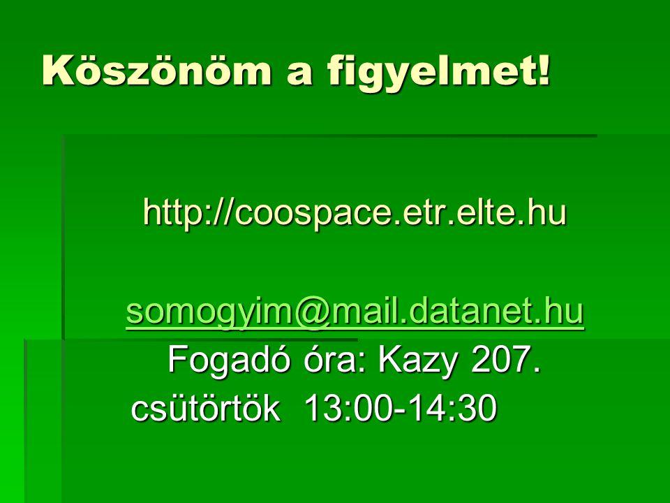 Köszönöm a figyelmet! http://coospace.etr.elte.hu