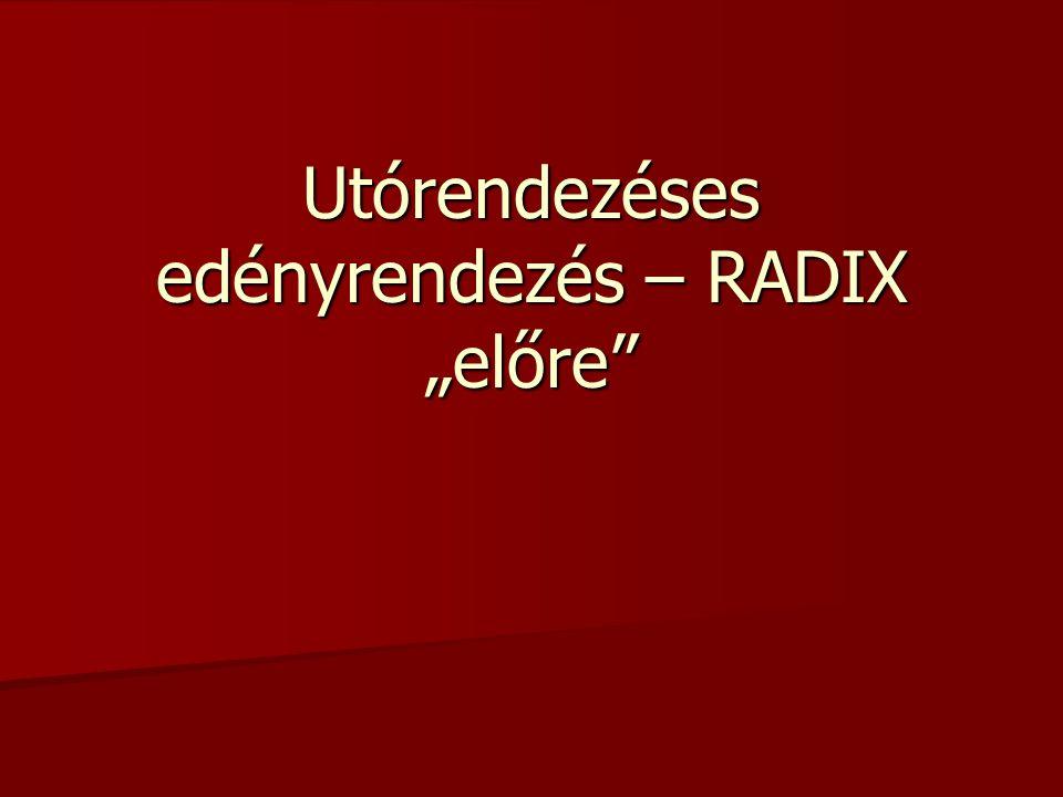"""Utórendezéses edényrendezés – RADIX """"előre"""