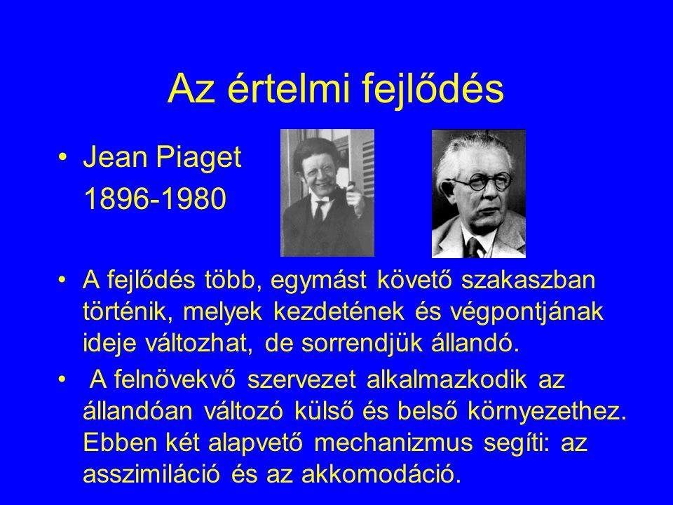 Az értelmi fejlődés Jean Piaget 1896-1980
