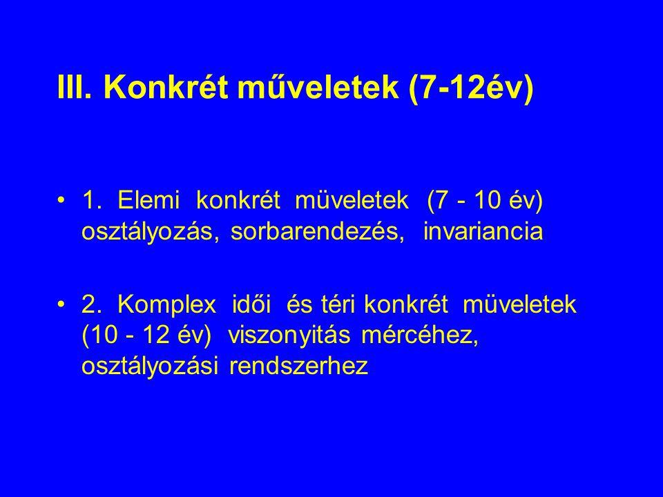 III. Konkrét műveletek (7-12év)