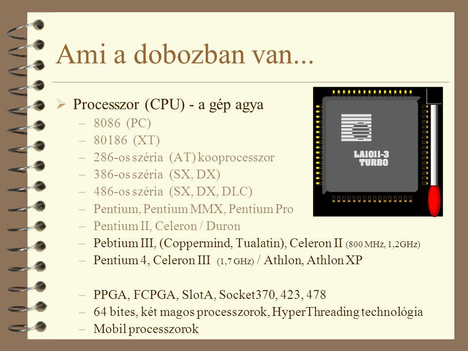 Ami a dobozban van... Processzor (CPU) - a gép agya 8086 (PC)