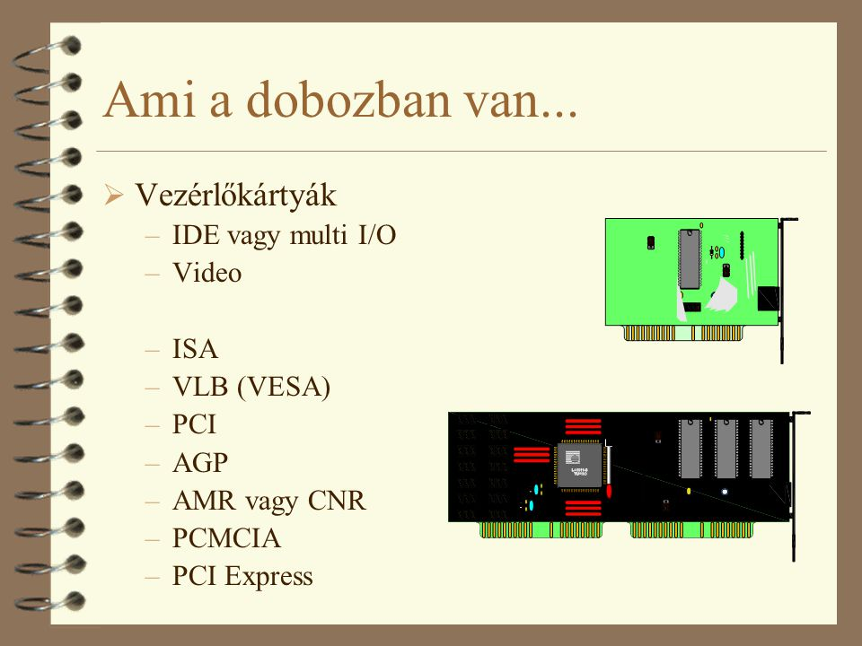 Ami a dobozban van... Vezérlőkártyák IDE vagy multi I/O Video ISA