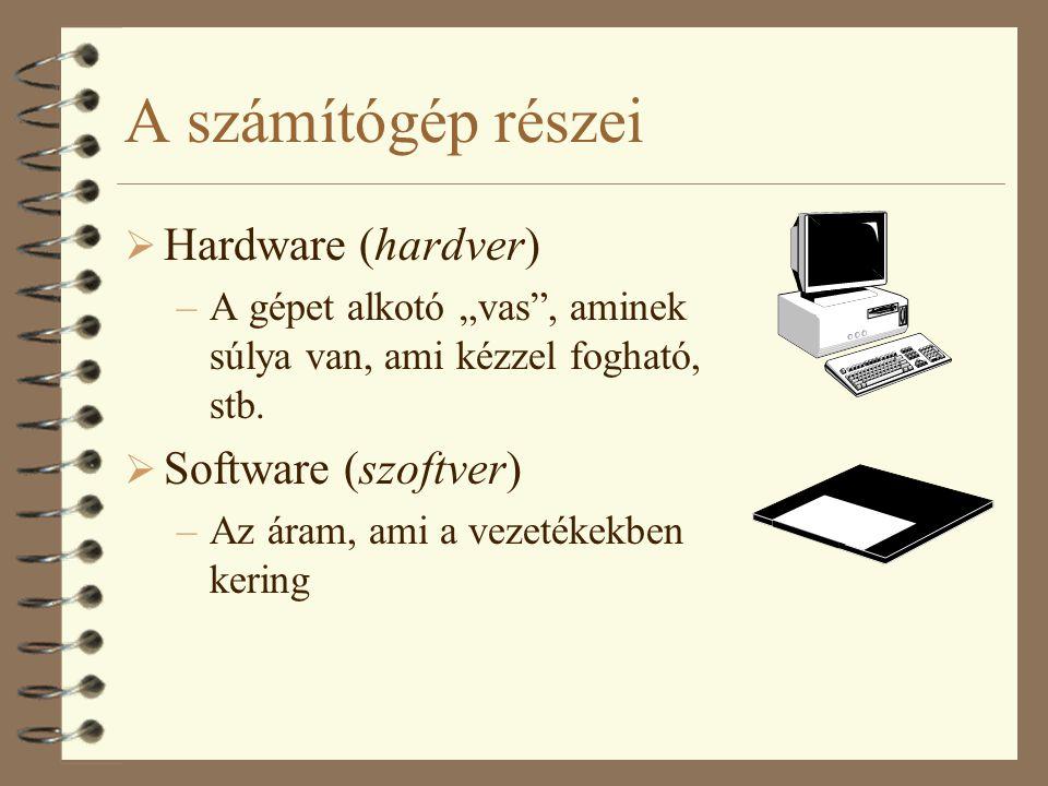 A számítógép részei Hardware (hardver) Software (szoftver)