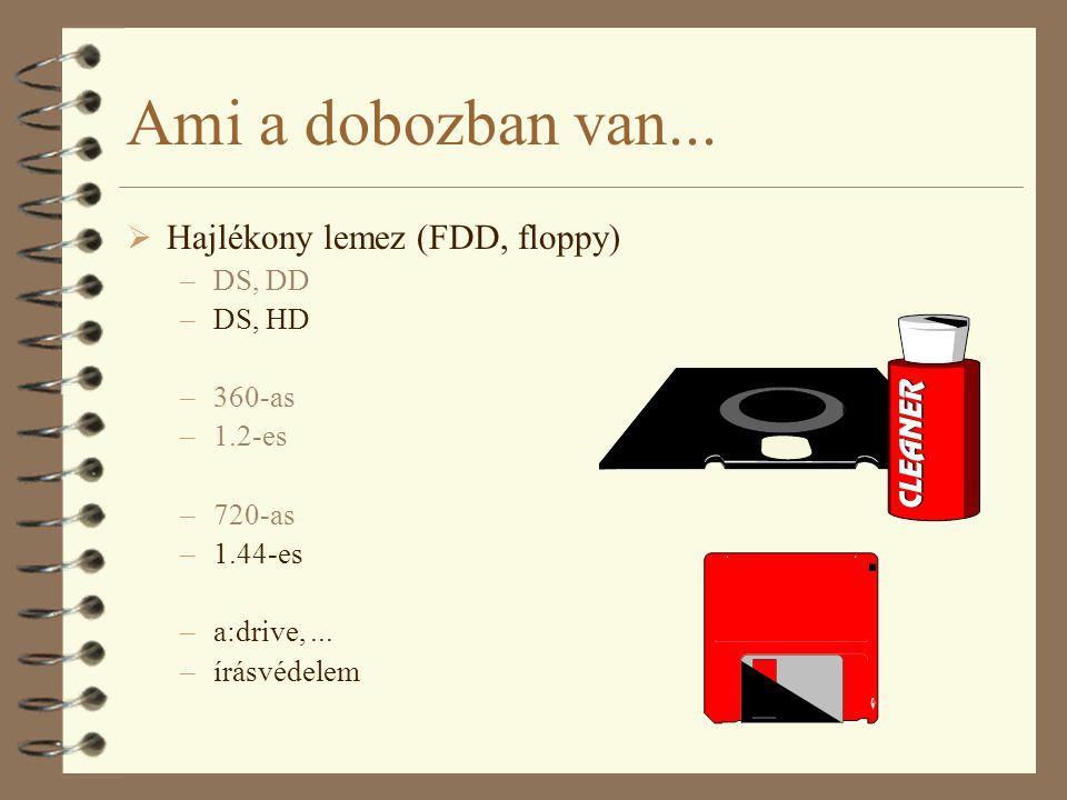 Ami a dobozban van... Hajlékony lemez (FDD, floppy) DS, DD DS, HD