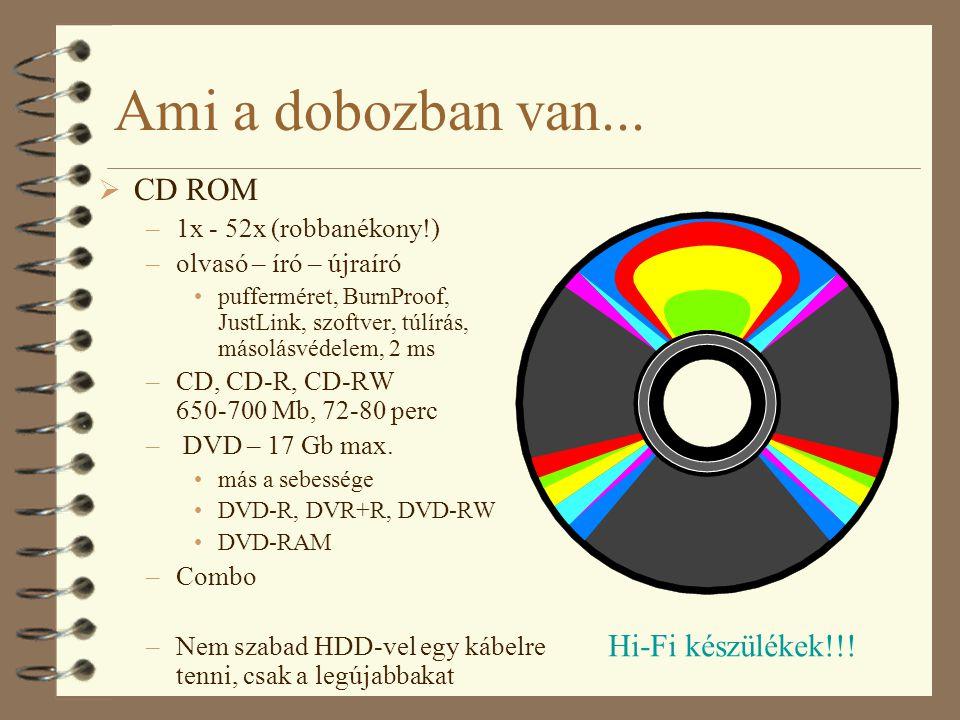 Ami a dobozban van... CD ROM Hi-Fi készülékek!!!