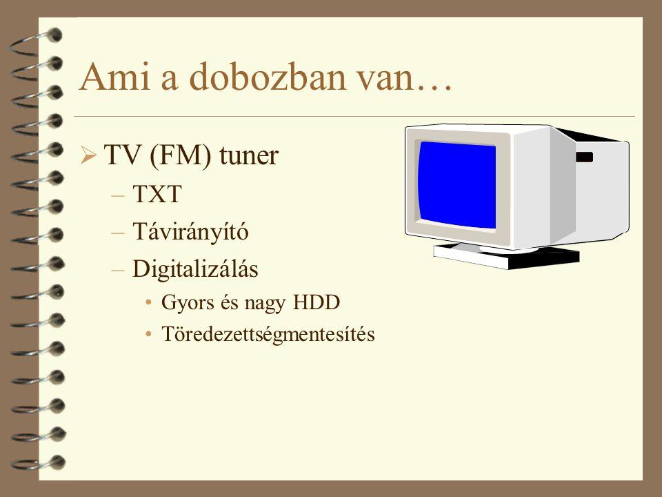 Ami a dobozban van… TV (FM) tuner TXT Távirányító Digitalizálás
