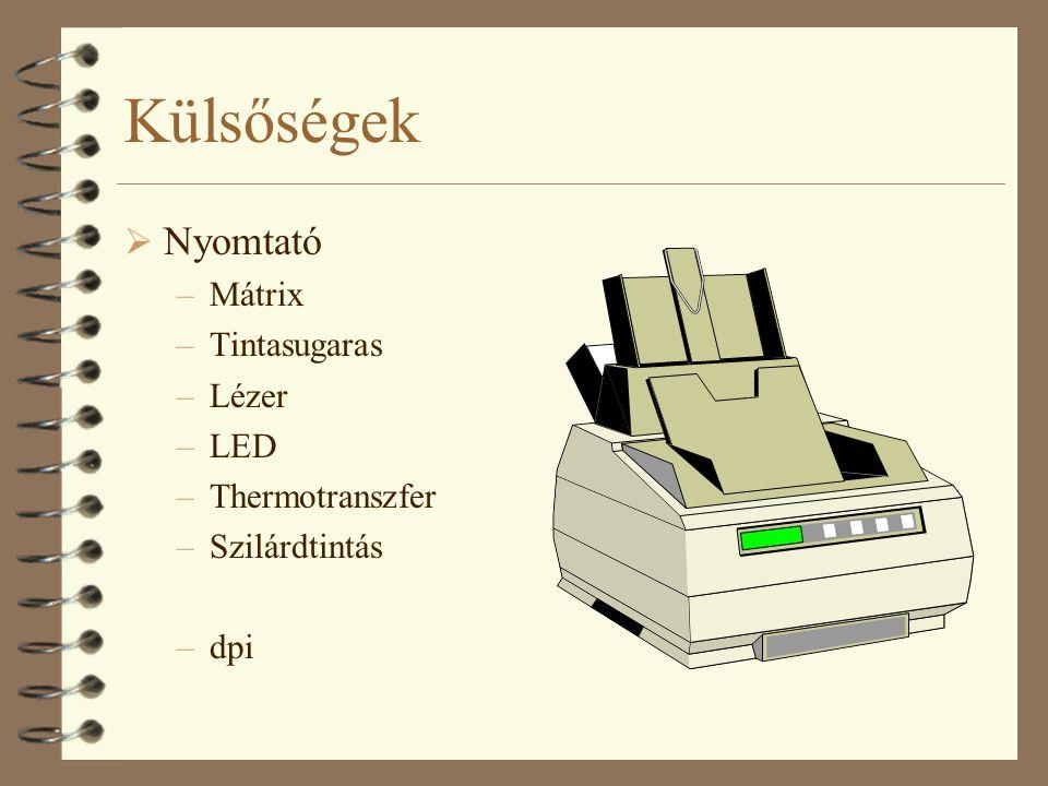 Külsőségek Nyomtató Mátrix Tintasugaras Lézer LED Thermotranszfer