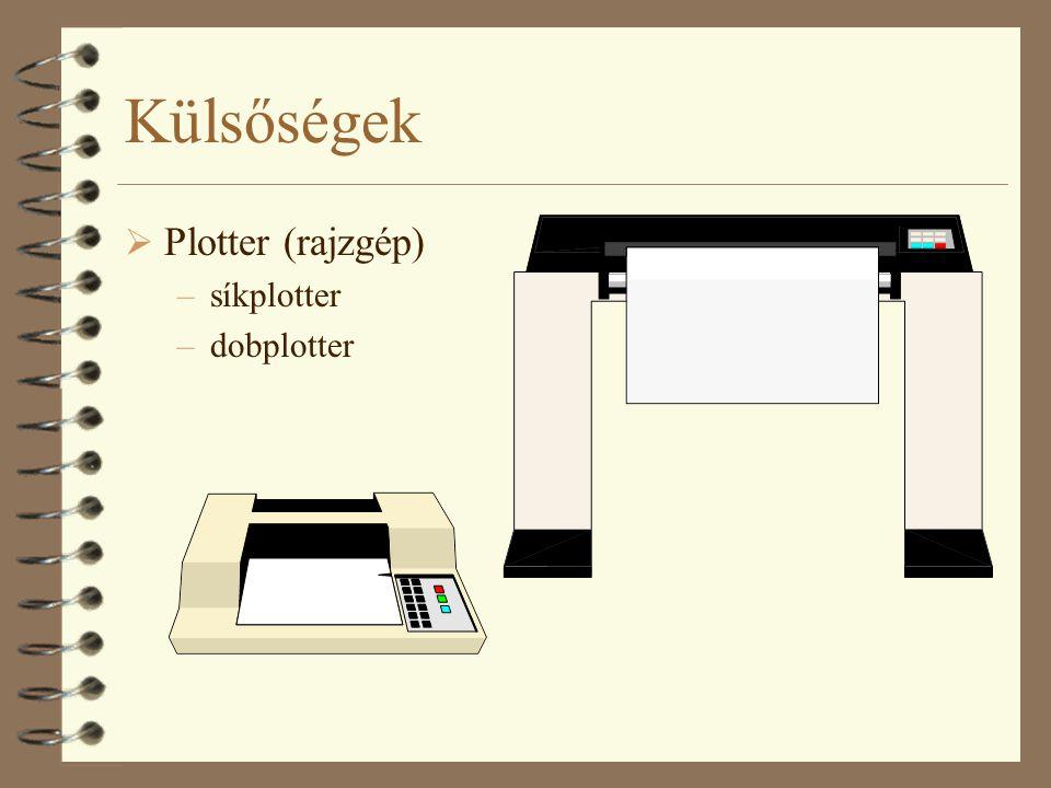 Külsőségek Plotter (rajzgép) síkplotter dobplotter