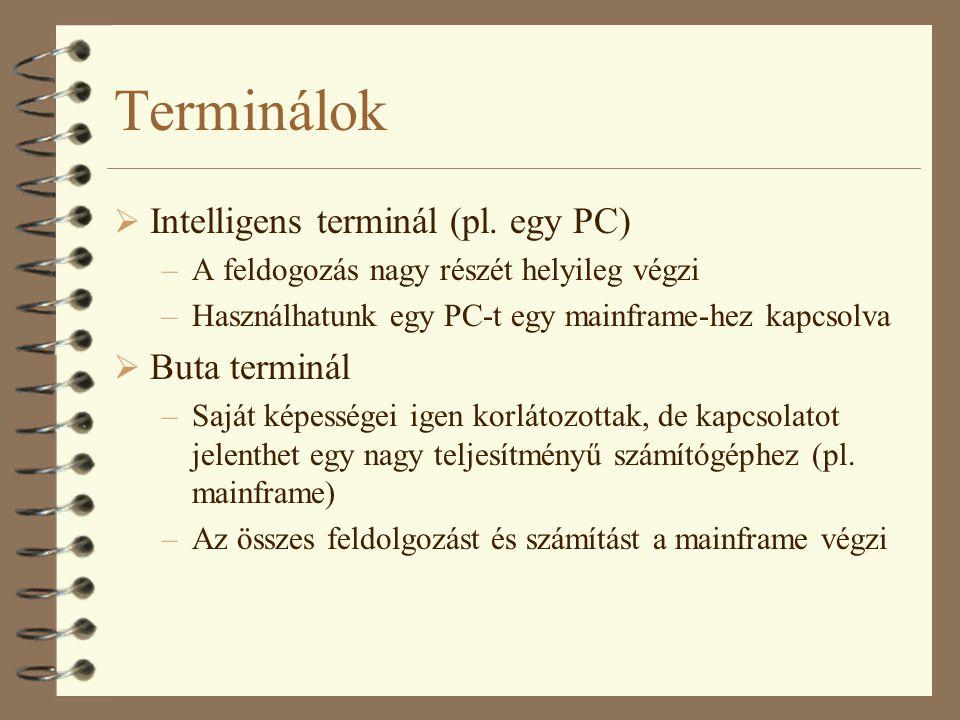 Terminálok Intelligens terminál (pl. egy PC) Buta terminál