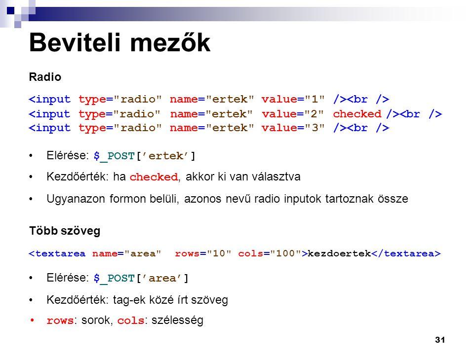 Beviteli mezők Radio. <input type= radio name= ertek value= 1 /><br /> <input type= radio name= ertek value= 2 checked /><br />