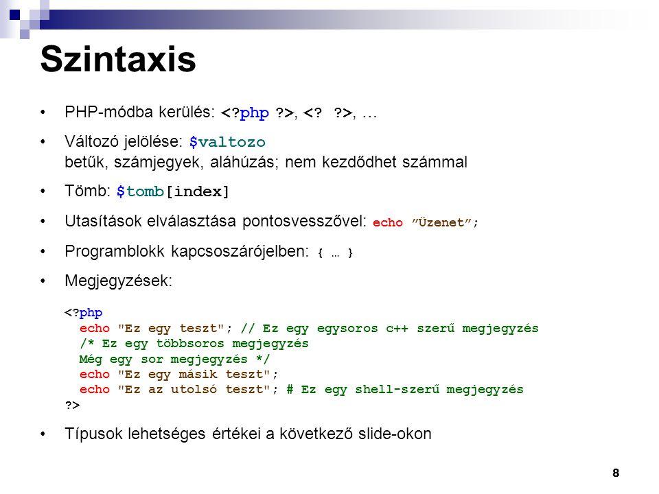 Szintaxis PHP-módba kerülés: < php >, < >, …