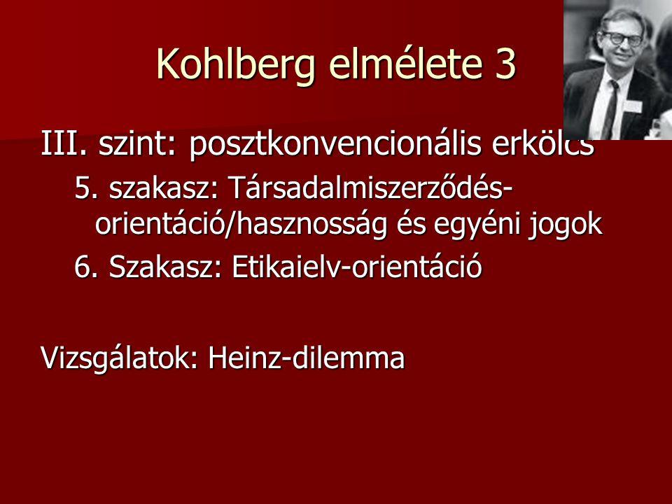 Kohlberg elmélete 3 III. szint: posztkonvencionális erkölcs