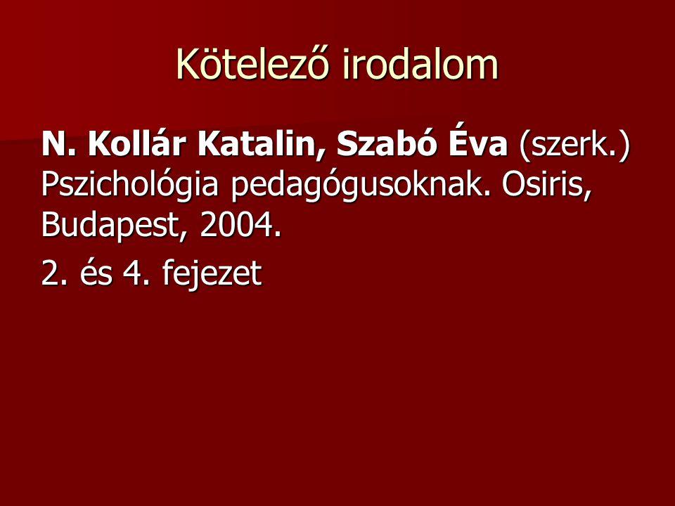 Kötelező irodalom N. Kollár Katalin, Szabó Éva (szerk.) Pszichológia pedagógusoknak. Osiris, Budapest, 2004.