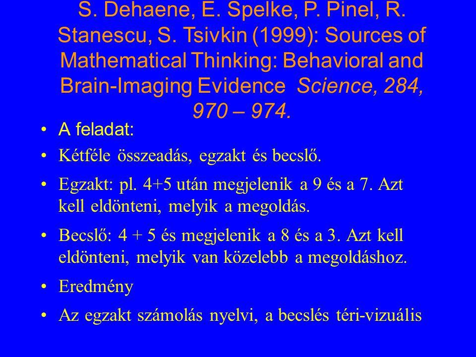 S. Dehaene, E. Spelke, P. Pinel, R. Stanescu, S