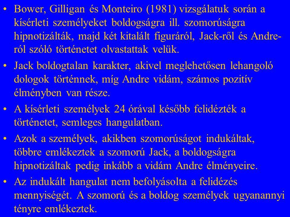 Bower, Gilligan és Monteiro (1981) vizsgálatuk során a kísérleti személyeket boldogságra ill. szomorúságra hipnotizálták, majd két kitalált figuráról, Jack-ről és Andre-ról szóló történetet olvastattak velük.