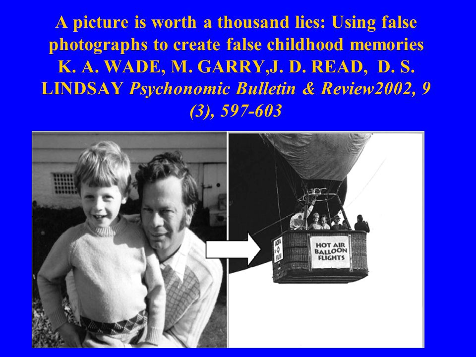 A picture is worth a thousand lies: Using false photographs to create false childhood memories K.
