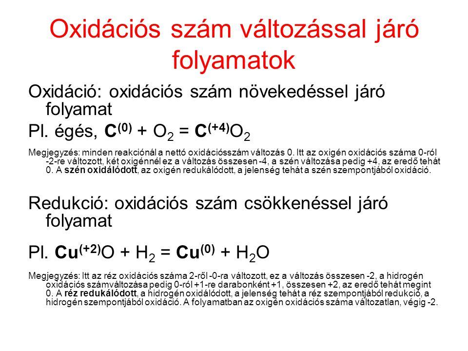 Oxidációs szám változással járó folyamatok