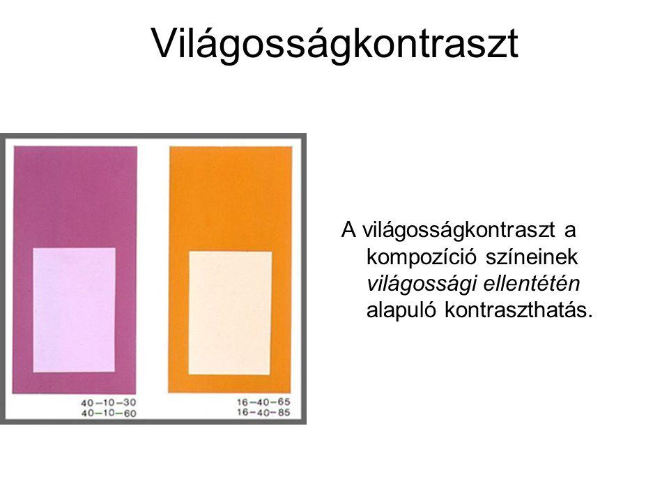 Világosságkontraszt A világosságkontraszt a kompozíció színeinek világossági ellentétén alapuló kontraszthatás.