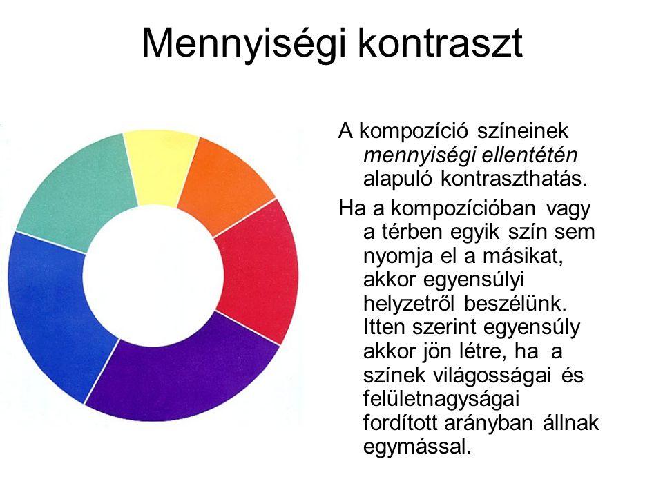 Mennyiségi kontraszt A kompozíció színeinek mennyiségi ellentétén alapuló kontraszthatás.