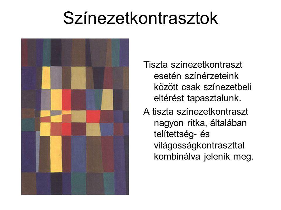 Színezetkontrasztok Tiszta színezetkontraszt esetén színérzeteink között csak színezetbeli eltérést tapasztalunk.