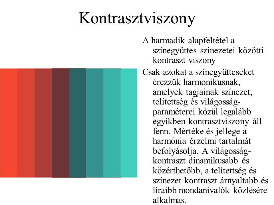 Kontrasztviszony A harmadik alapfeltétel a színegyüttes színezetei közötti kontraszt viszony.