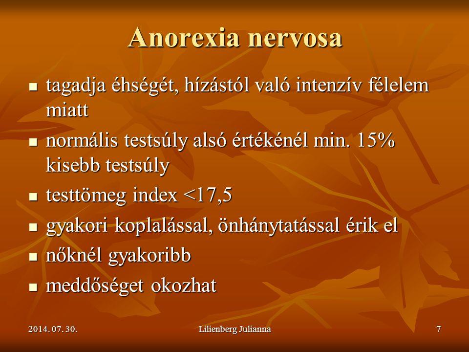 Anorexia nervosa tagadja éhségét, hízástól való intenzív félelem miatt
