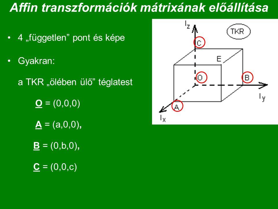 Affin transzformációk mátrixának előállítása