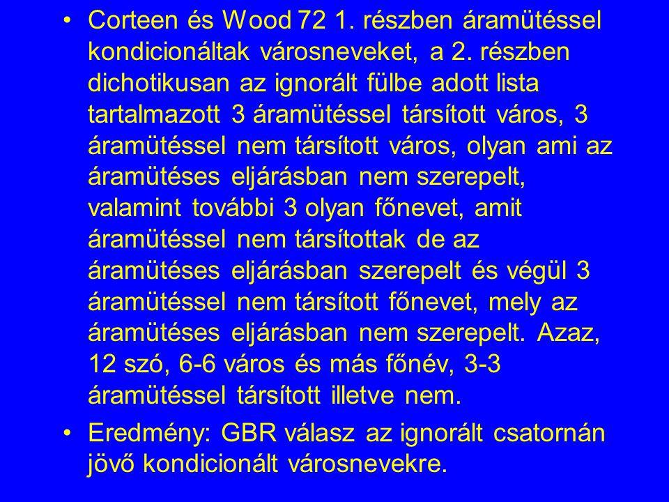 Corteen és Wood 72 1. részben áramütéssel kondicionáltak városneveket, a 2. részben dichotikusan az ignorált fülbe adott lista tartalmazott 3 áramütéssel társított város, 3 áramütéssel nem társított város, olyan ami az áramütéses eljárásban nem szerepelt, valamint további 3 olyan főnevet, amit áramütéssel nem társítottak de az áramütéses eljárásban szerepelt és végül 3 áramütéssel nem társított főnevet, mely az áramütéses eljárásban nem szerepelt. Azaz, 12 szó, 6-6 város és más főnév, 3-3 áramütéssel társított illetve nem.