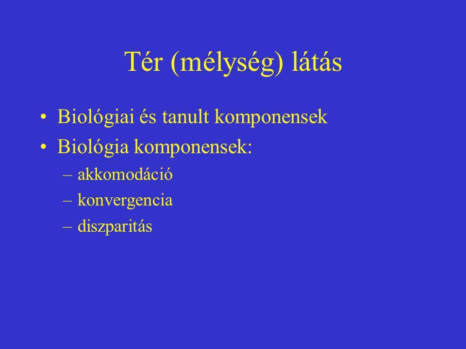 Tér (mélység) látás Biológiai és tanult komponensek