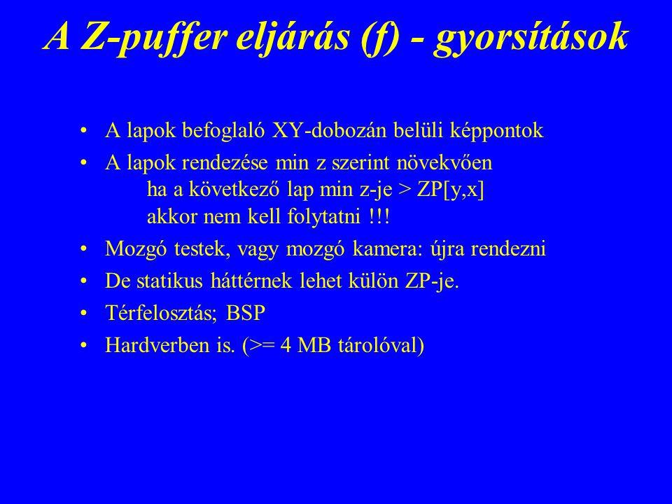 A Z-puffer eljárás (f) - gyorsítások