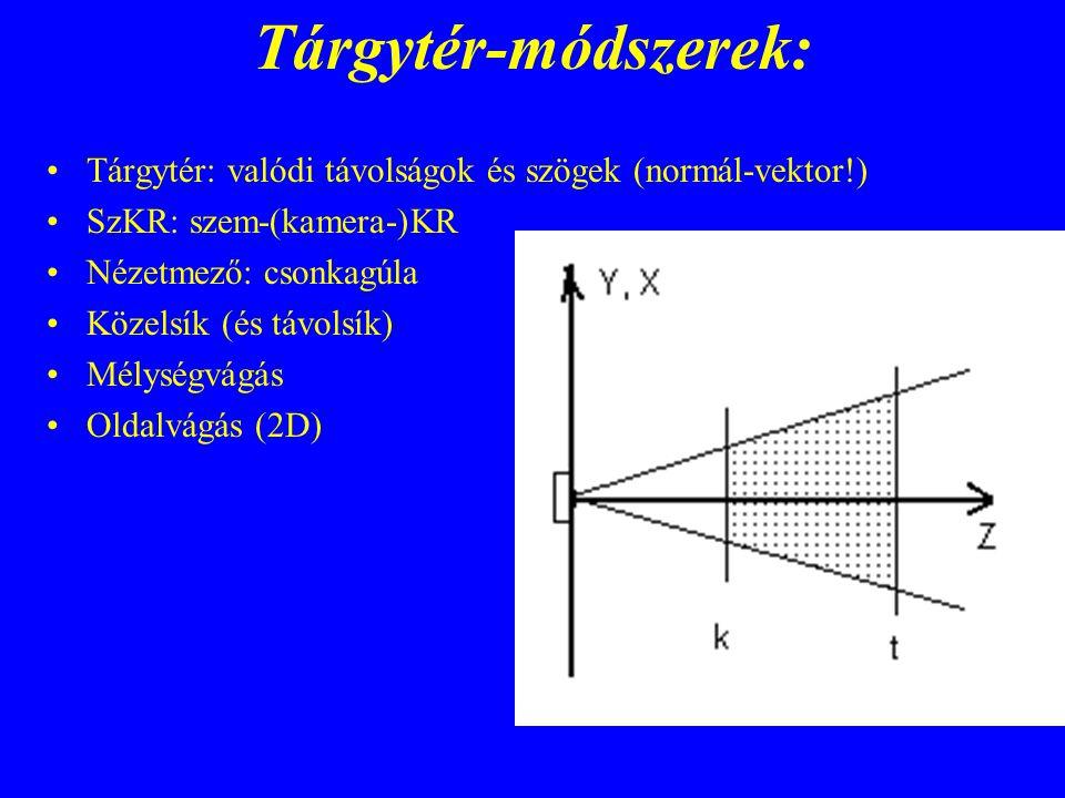 Tárgytér-módszerek: Tárgytér: valódi távolságok és szögek (normál-vektor!) SzKR: szem-(kamera-)KR.