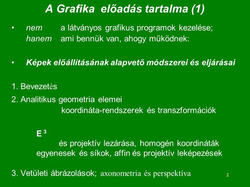 A Grafika előadás tartalma (1)