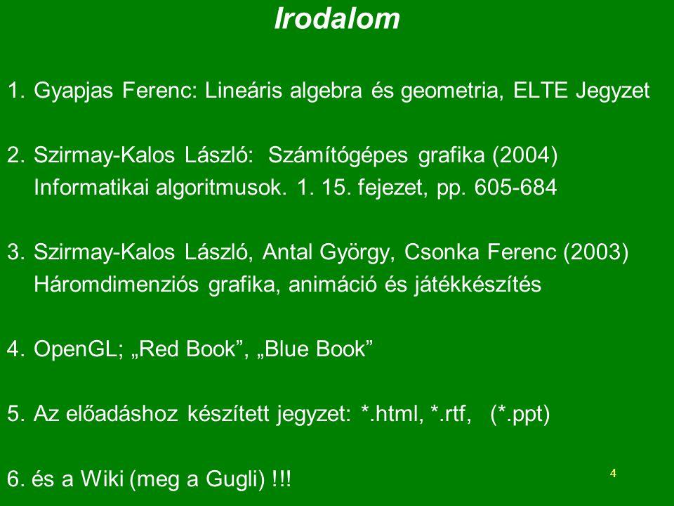 Irodalom Gyapjas Ferenc: Lineáris algebra és geometria, ELTE Jegyzet