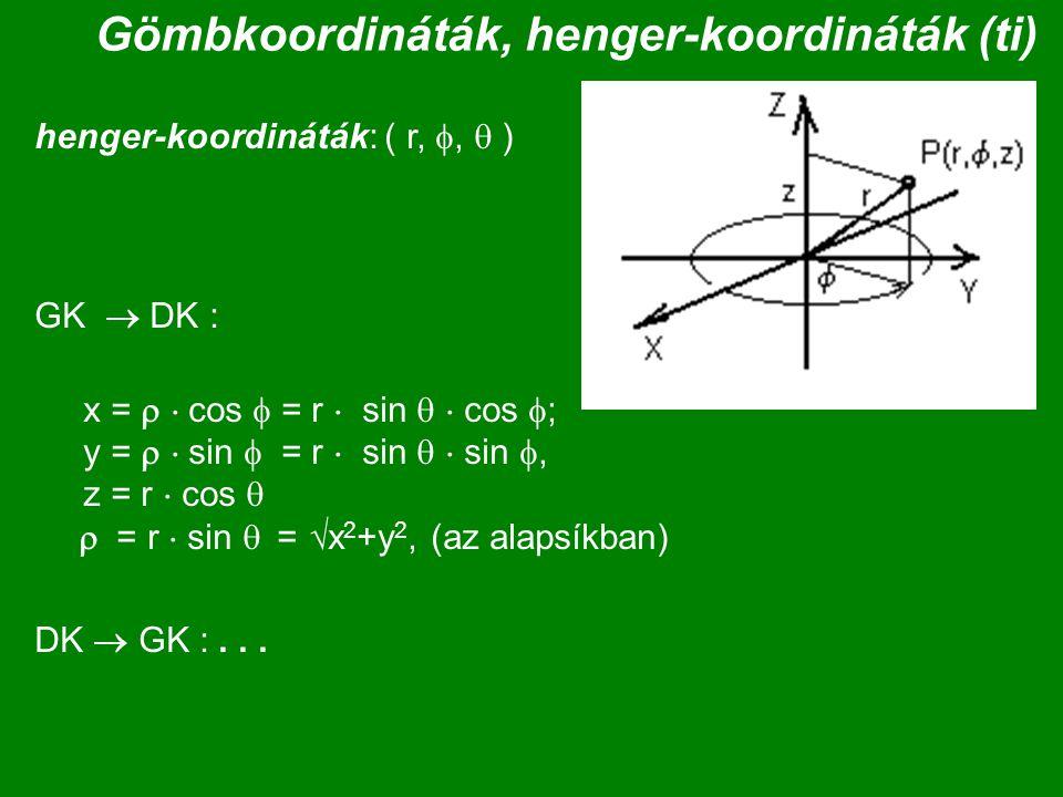 Gömbkoordináták, henger-koordináták (ti)