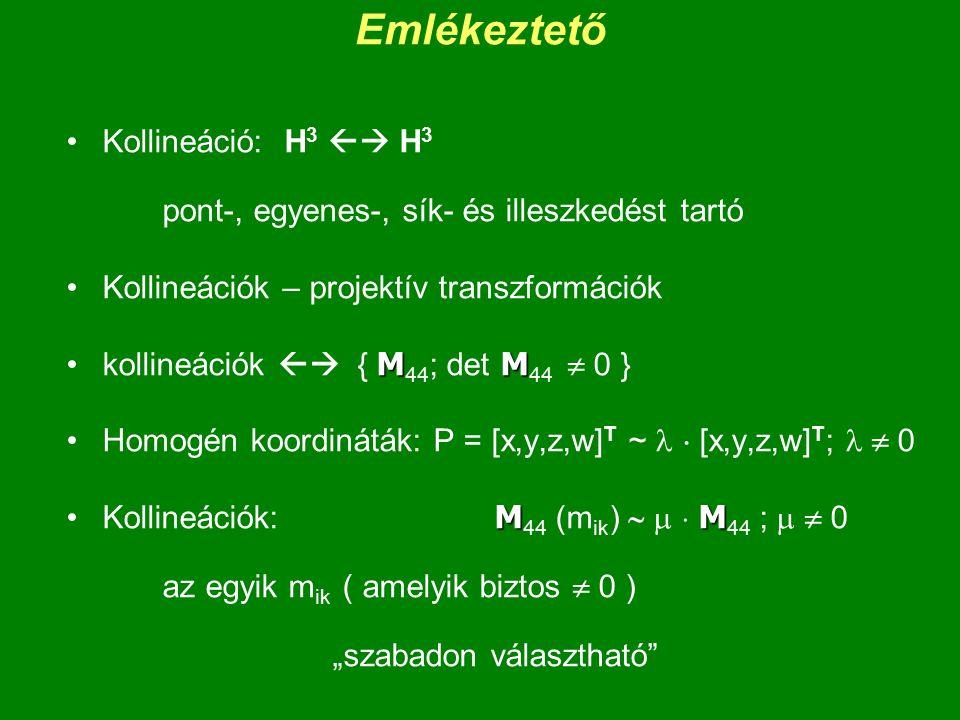 Emlékeztető Kollineáció: H3  H3 pont-, egyenes-, sík- és illeszkedést tartó. Kollineációk – projektív transzformációk.