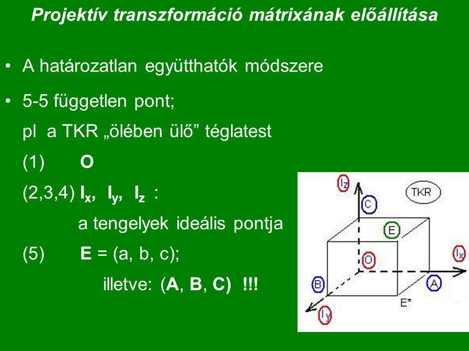 Projektív transzformáció mátrixának előállítása