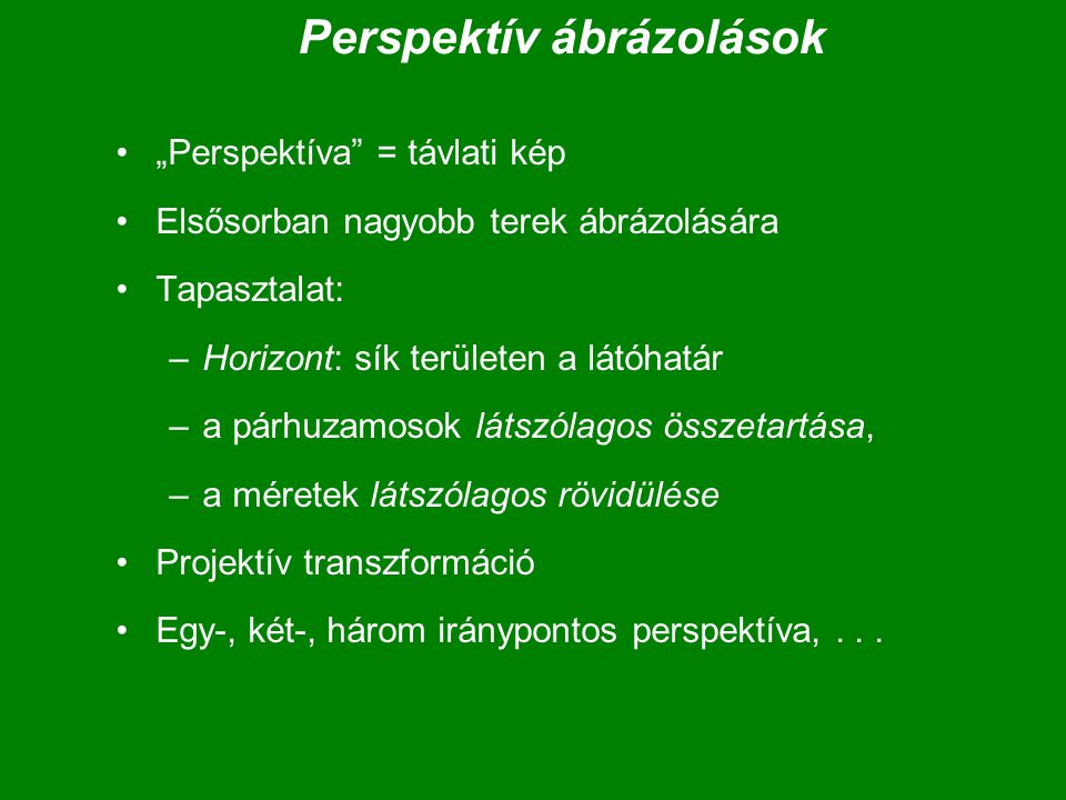 Perspektív ábrázolások