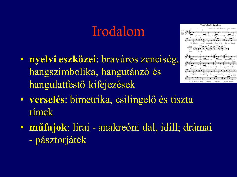 Irodalom nyelvi eszközei: bravúros zeneiség, hangszimbolika, hangutánzó és hangulatfestő kifejezések.