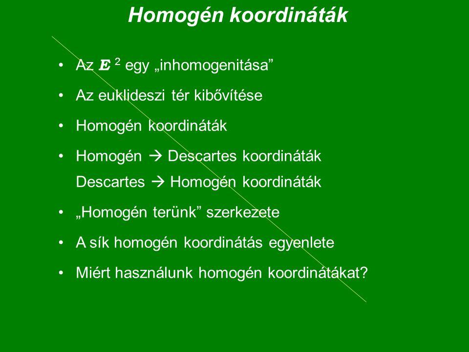 """Homogén koordináták Az E 2 egy """"inhomogenitása"""