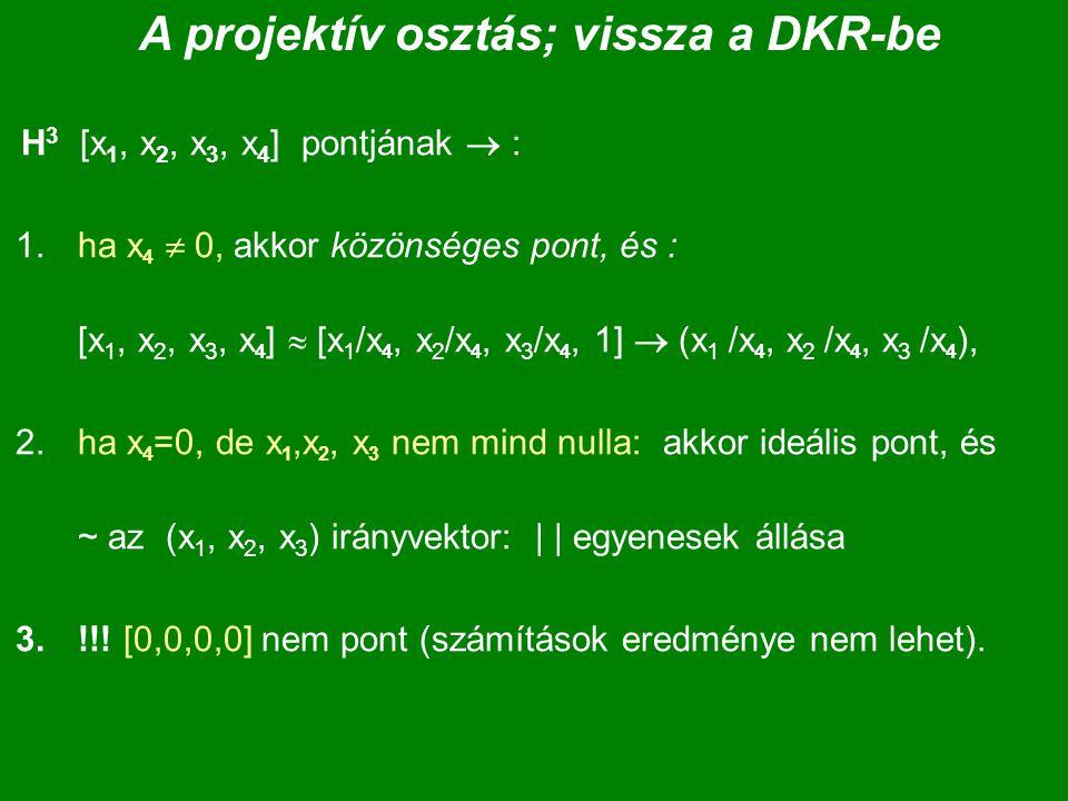 A projektív osztás; vissza a DKR-be